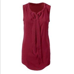 Cabi Cinch Top in crimson burgundy red XS